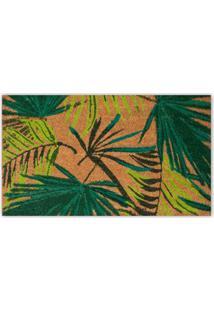 Capacho Em Fibra De Coco Folhas 45X75Cm Marrom E Verde