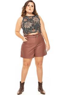 Shorts Linny Plus Size Em Couro Marrom