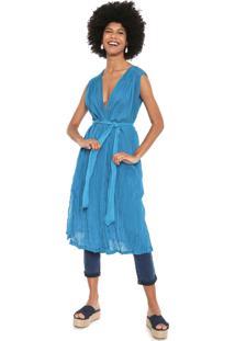 Vestido Cantão Midi Túnica Azul