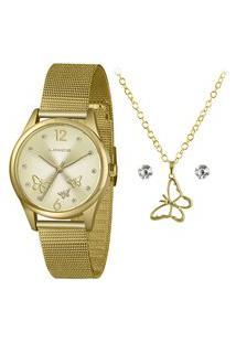 Kit Relógio Lince Feminino Dourado Analógico Lrgj105L Kx40C2Kx + Pulseira Dourado