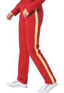 Calça Color Calvin Klein Jeans 5 Pckts Straight High Vermelho - 36
