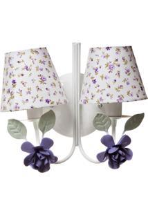Arandela 2 Lâmpadas Flores Quarto Bebê Infantil Potinho De Mel Lilás - Kanui