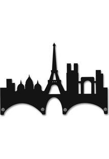 Porta Chaves De Parede Mdf 4 Pontas Paris Preto Smartfix