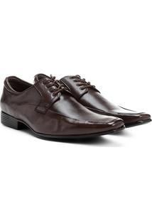Sapato Couro Social Shoestock Amarração Clássico - Masculino-Café