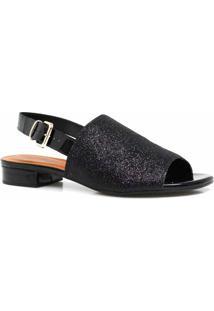 Sandália Zariff Shoes Salto Glitter - Feminino-Preto