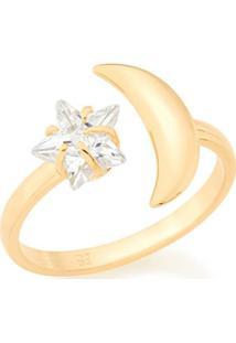 Anel Skinny Ring Ajustável Lua E Estrela Com Zircônia Rommanel - Feminino-Dourado