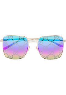 Gucci Eyewear Óculos De Sol Quadrado Monogramado Gg - Azul