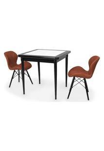 Conjunto Mesa De Jantar Em Madeira Preto Prime Com Azulejo + 2 Cadeiras Slim - Marrom
