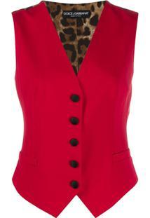 Dolce & Gabbana Animal Print Panel Waistcoat - Vermelho