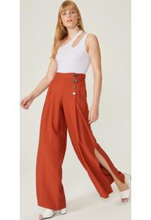 Calça Pantalona Fenda Lateral Botões Mix