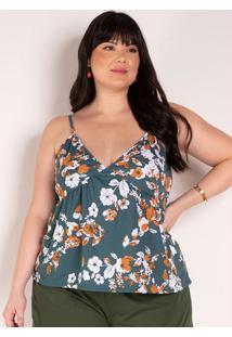 Blusa Floral Verde De Alças Finas Plus Size