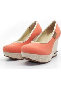 Scarpin Barth Shoes Land Sl Juta Nat Lona Feminino - Feminino-Laranja