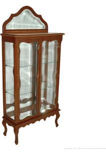 Cristaleira 2 Portas Com Vidro E Espelho Vera Cruz 100% Madeira Maciça E Tampo De Mármore Castanho - Antonio E Filhos