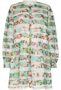 Dolce & Gabbana Panelled Floral-Print Shirt Dress - Azul