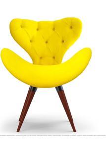 Poltrona Com Capitonê Decorativa Cadeira Egg Amarela Com Base Fixa De Madeira