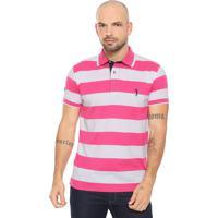 Camisa Polo Aleatory Reta Listrada Rosa Branco 442c81b1f034b