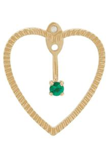 Yvonne Léon Par De Brincos 'Heart' De Ouro 18K Com Esmeraldas - Dourado