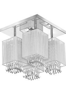 Lustre Plafon Quadclear Organza Quadrado Branco Maravilhoso - Branco - Dafiti