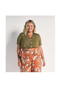 Camisa Manga Curta Em Viscose Com Botões Matizados Curve & Plus Size | Ashua Curve E Plus Size | Verde | G