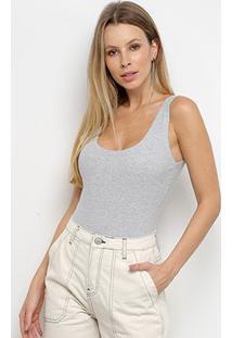 Body Calvin Klein Canelado Regata - Feminino-Mescla