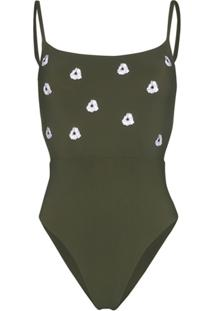 Anemone Narcissus Floral Embroidered Swimsuit - Verde