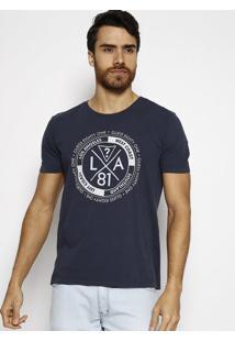 "Camiseta ""La 81"" - Azul Escuro & Cinza - Guessguess"