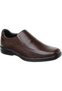 Sapato Conforto Malbork Em Couro Liso - Masculino-Café