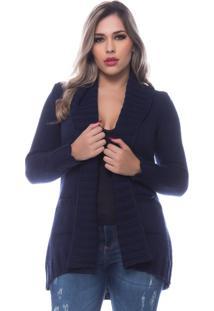 Casaco Officina Do Tricô Trança Cardigan Azul Marinho