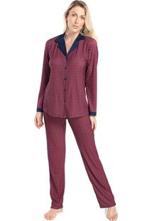 Pijama Feminino De Inverno Aberto Xadrez Vermelho