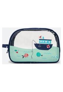 Necessaire Tijolão Com Estampa De Navio De Pesca   Accessories   Azul   U