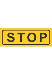 Placa Decorativa Stop 10X30 Cm Preto