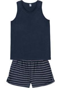 Pijama Feminino Em Malha De Viscose Com Shorts Com Listras