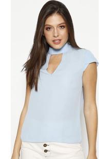 Blusa Com Recorte Vazado & Botões - Azul Claromoiselle