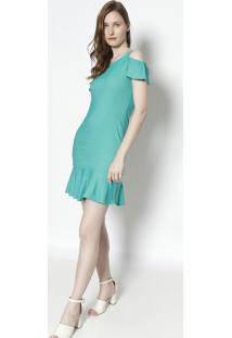 Vestido Midi Com Ombros Vazados - Verde- Moiselemoisele