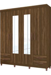 Guarda-Roupa Casal Com Espelho Diamante 4 Pt 4 Gv Cedro