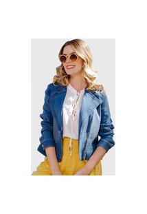 Jaqueta Moletom Jeans Used Miss Joy 7012