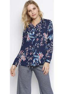 Camisa Floral Com Transparãªncia- Azul Marinho & Rosa Claintens