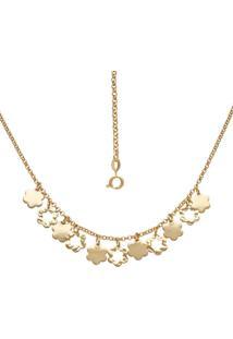Gargantilha Prata Mil Com Flores Lisas E Estampadas Dourado