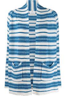 Allude Cardigan De Cashmere Listrado - Azul