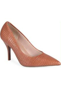 Sapato Scarpin Feminino Conforto Lezard Caramelo