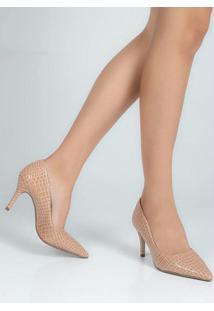 Sapato Scarpin Feno Animal Skin Nude