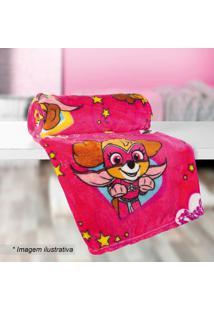 Manta Fleece Patrulha Caninaâ® Solteiro- Pink & Amarela