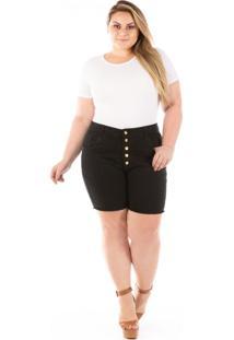 Shorts Feminino Jeans Cintura Alta Com Botões Plus Size
