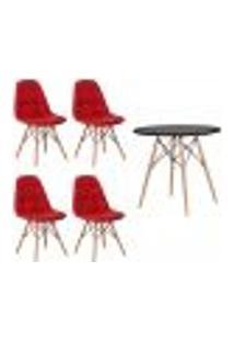 Conjunto 4 Cadeiras Eames Botonê Vermelha + 1 Mesa Eames 80Cm Preta Base Madeira Cozinha Jantar