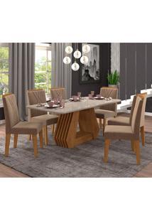 Conjunto De Mesa Para Sala De Jantar Com 6 Cadeiras 180X90 Agata/Nicole-Cimol - Savana / Off White / Pluma