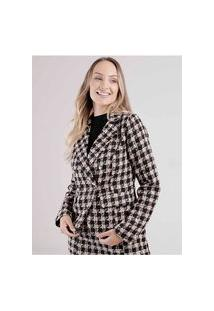 Blazer Xadrez Tweed Eagle Rock Feminino Bege