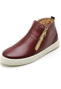 Bota Top Franca Shoes Hiate Word Feminino - Feminino-Marrom