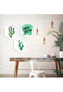 Kit 3 Quadros Com Moldura Hexagonal Never Give Up