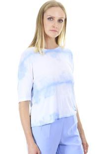 Blusa Manga Curta Estampa Tie Dye Claro Aha - Azul - Feminino - Dafiti