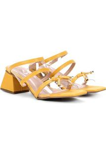 Sandália Griffe Multi Tiras Salto Trapezio Feminina - Feminino-Amarelo